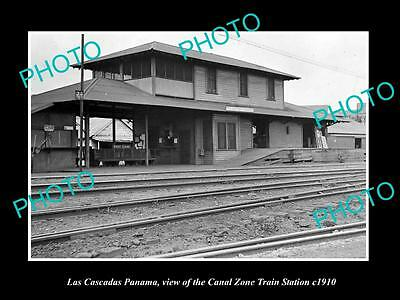 OLD LARGE HISTORIC PHOTO OF LAS CASCADAS PAMANA, CANAL ZONE RAILROAD DEPOT c1910