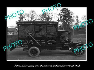 OLD LARGE HISTORIC PHOTO OF PATERSON NEW JERSEY, THE LOCKWOOD BROS TRUCK c1920