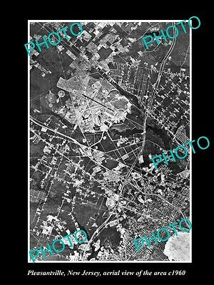 OLD LARGE HISTORIC PHOTO OF PLEASANTVILLE NEW JERSEY, AERIAL VIEW OF AREA c1960