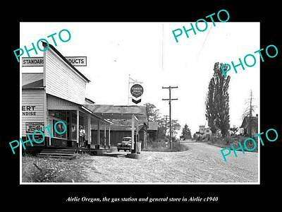 OLD LARGE HISTORIC PHOTO OF AIRLIE OREGON, THE GAS STATION & STORES c1940