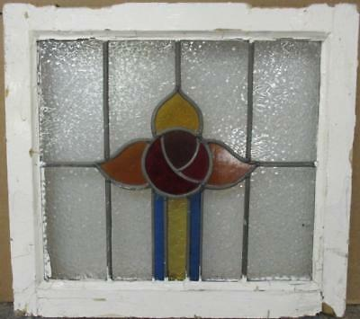 "OLD ENGLISH LEADED STAINED GLASS WINDOW Pretty Abstract Floral 20"" x 18.25"""