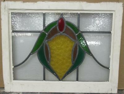 "MID SIZE OLD ENGLISH LEADED STAINED GLASS WINDOW Awesome Abstract 23.75"" x 18.5"""