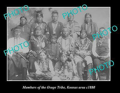 OLD LARGE HISTORIC PHOTO OF INDIAN OSAGE TRIBE, GROUP PHOTO c1880, KANSAS AREA