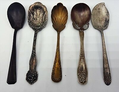 Vintage Victorian Decorative Serving Spoons Lot Silverplate Nickel Copper Brass