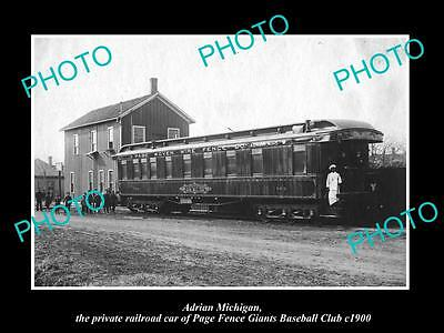 Old Large Historic Photo Of Adrian Michigan, The Baseball Team Railroad Car 1900