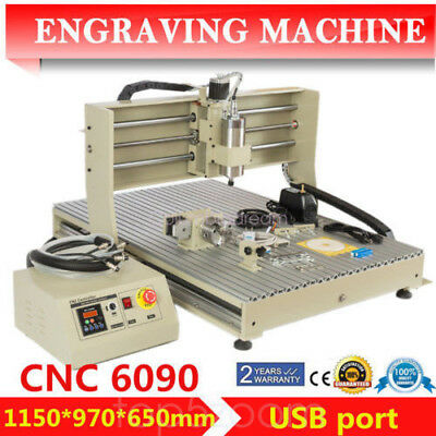 6090 1500W VFD CNC Router Engraver 4 AXIS Mill Drill Machine+USB Port Water-cool