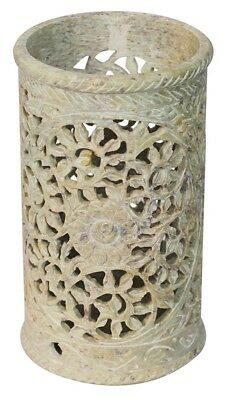 Carved Soapstone Vase, Great for Candles Office, Home Decor