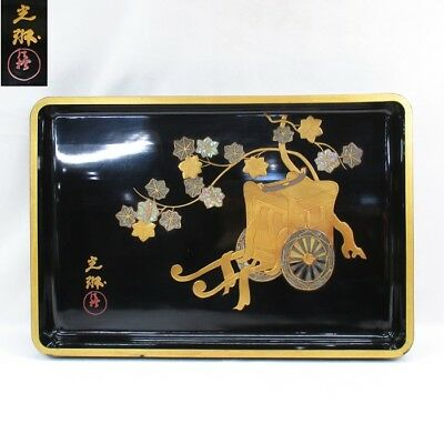 G985 High-class old Japanese lacquered big tray w/wonderful great KORIN MAKIE. S