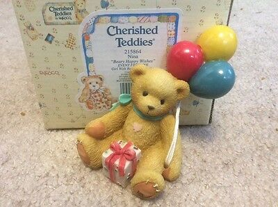 Cherished Teddies Nina Bear with Balloons Figurine Enesco