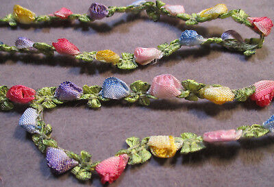 Vintage Ribbonwork Trim - Little Silk Rosebuds & Leaves - 4 Feet Long