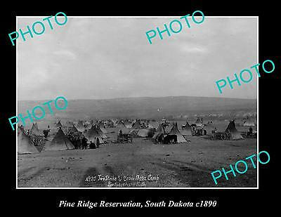 OLD LARGE HISTORIC PHOTO OF INDIAN PINE RIDGE RESERVATION, SOUTH DAKOTA c1890