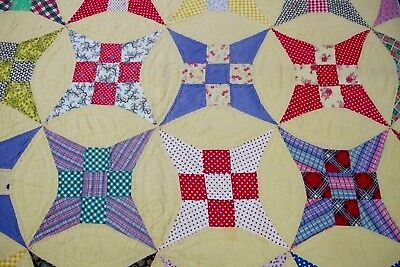 "Vintage Hand Pieced & Quilted Feed Sack CURVED NINE PATCH Quilt; 90"" x 76"""