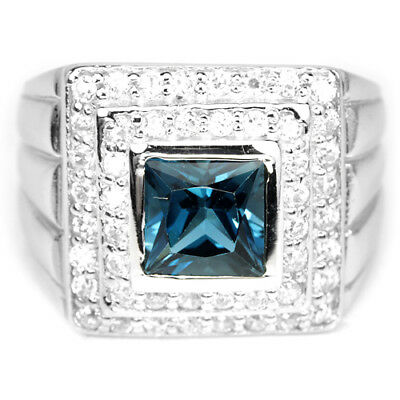 Genuine Aaa London Blue Topaz Princess & White Cz Sterling 925 Silver Ring 5.5