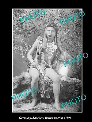 OLD LARGE HISTORIC PHOTO OF SHOSHONI INDIAN WARRIOR, GORASIMP c1890