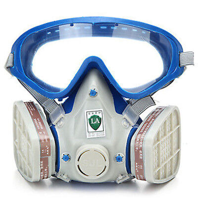 1 Silicone Full Face Respirator Gas Mask & Goggles Paint Chemical Fire Dustproof