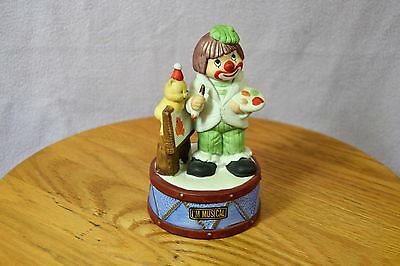 Vintage Flambro Collectible Musical Child Painter Clown with Easel and Bear