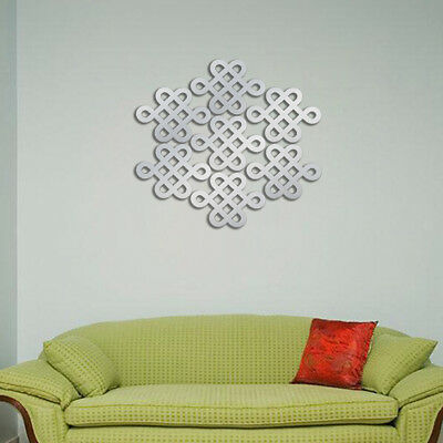 Stickers Muraux Autocollant Miroir Murales Noeud chinois DIY Décor Wall
