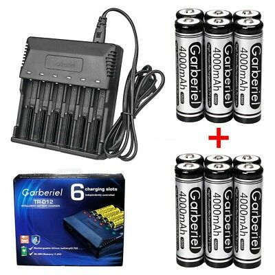 Lot 3.7V Li-ion 4000mAh 18650 Rechargeable Battery+US Charger For LED Flashlight