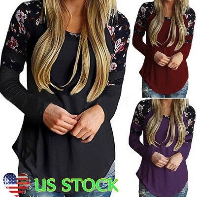 Women Floral O-Neck Blouse T-Shirt Autumn Casual Long Sleeve Top Skinny Pullover