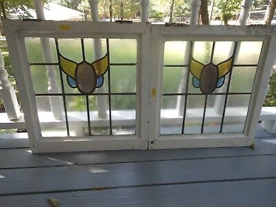 V276A Lovely Older Leaded Stained Glass Window From England 2 Available