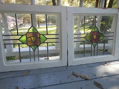 S199 Lovely Older Leaded Stained Glass Window F/England 2 Available ENGLISH ROSE