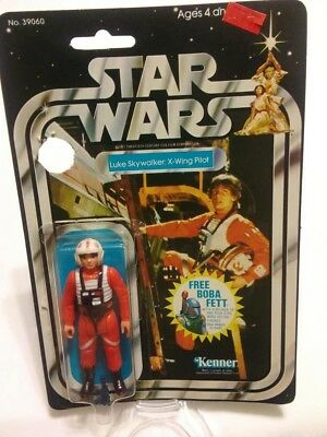 Vintage 1978 Star Wars X-Wing Luke 20 Back Opened Cardback Bubble Figure Blaster