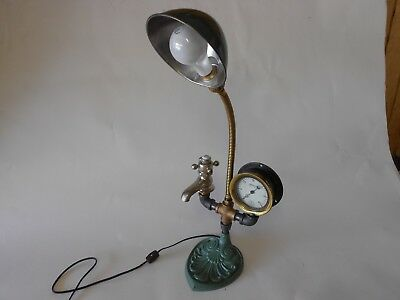 Goose Neck Lamp with Faucet/Gauge, Industrial Lamp, Folk Art/Steampunk