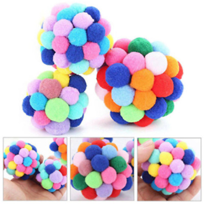 Cute Pet Cat Toy Colorful Soft Bells Bouncy Ball Built-In Catnip Interactive Toy