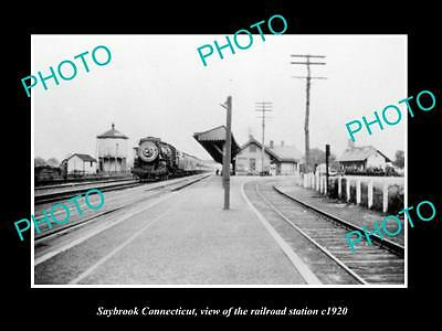 OLD LARGE HISTORIC PHOTO OF SAYBROOK CONNECTICUT, THE RAILROAD DEPOT c1920