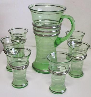 Retro Green Depression Glass Jug 26cm Tall & 6 Matching Glasses Silver Bands Exc