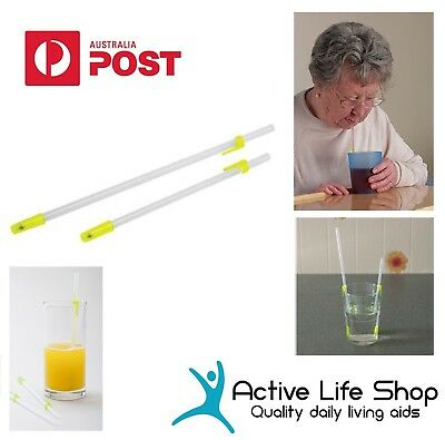 "One way Drinking Straws Pat Saunder straw with cup clips 10""/ 7"" Disability Aids"