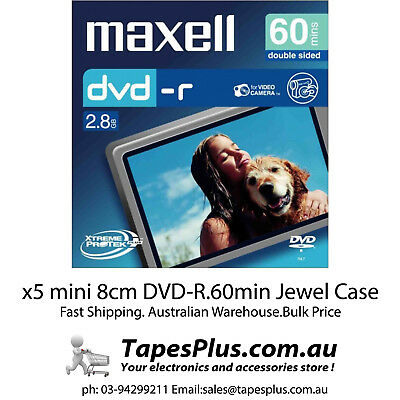 Maxell - 8cm Camcorder DVD-R 60min 5 Pack Jewel Case