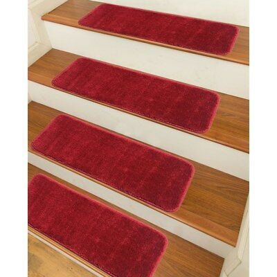 Stair Treads Set Red Indoor Wood Floors Non Skid Slip Carpet Rugs Pads  Rubber