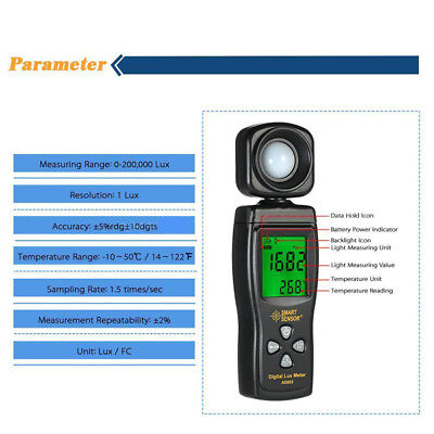 0-200000 Luxmeter Lux/ FC Meter Digital Light Meter Luminometer Photometer