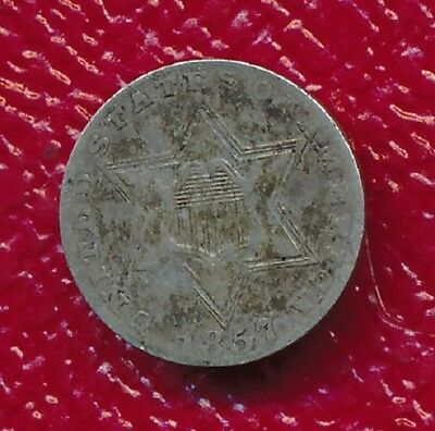 1857 Three Cent Silver Trime **great Toning** Free Shipping!