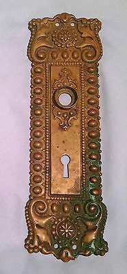 Beautiful Victorian French Repousse Door Plate, Antique Bronze   $55