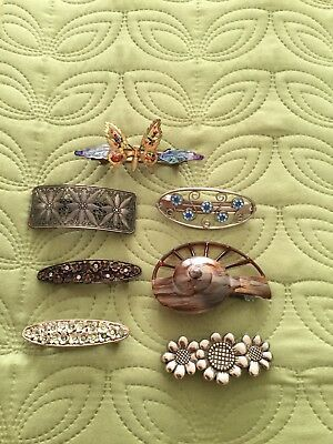 Ladies Job Lot Of Pretty Hair Clips X 7 Preowned