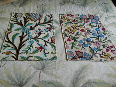 Two Vintage Sample Schumacher&Co.Crewel Fabric Pieces! Awesome Handiwork! Rich C