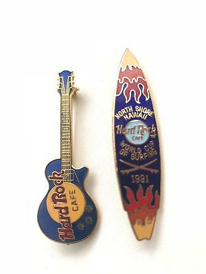 Hard Rock Cafe Collectible classic guitar and 1991 World Cup of Surfing pins