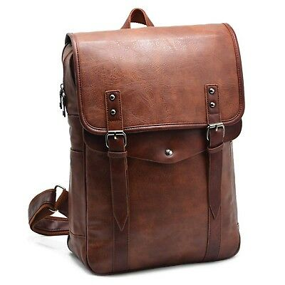 Vintage PU Leather Backpack ARUNGOR Slim Travel Laptop Backpack Knapsack ... New