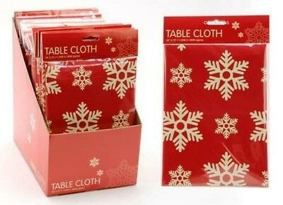 """54"""" x 72"""" Contemporary Red Snowflake Design Tablecloth"""
