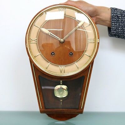 German HERMLE Wall Clock 1950s Mid Century HIGH GLOSS Bell Chime Vintage Germany