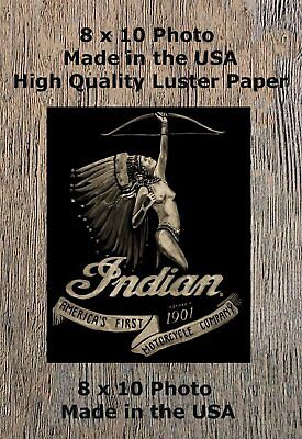 1901 Indian Motorcycle Man Cave Pinup Girl 8X10 Photo Sign Picture America's