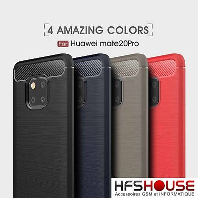 Pour Huawei Mate 20 Pro Coque Housse Etui Carbone Silicone Gel Case Cover