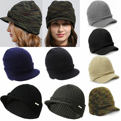 cf8995be8c1 Mens Womens Peaked Army Beanie Hat Winter Warm Wool Cadet Ski Visor Cap  Berets