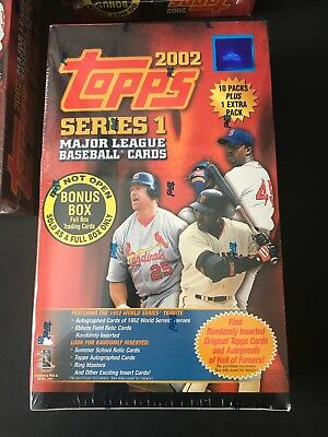 2002 Topps Baseball Series 1 Unopened Factory Sealed Box Of Cards 11 Packs