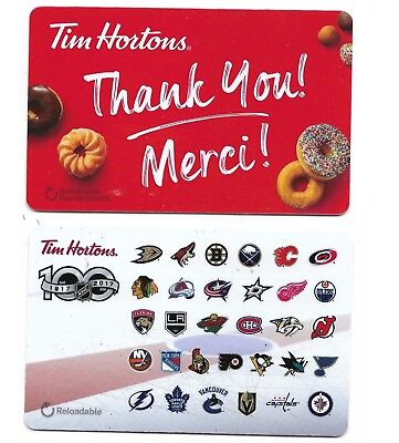 2 collectible TIM HORTONS HORTON'S gift cards Canada NHL Hockey Thank You Merci