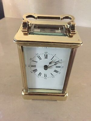 Vintage Of 1889 French 8 Day Mech Move Solid Brass Carriage Clock In Box