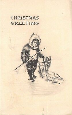 M Greiner Christmas~Eskimo Girl With Harpoon~Dog Sled~1912 Artist Signed PC