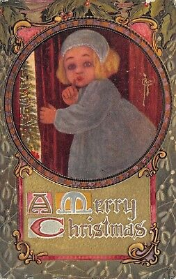 C Ryan Christmas~Lil Girl Sshh~Peeks Past Drapes to Decorated Tree~Art Nouveau